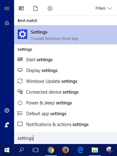 Search for Settings in the Start menu