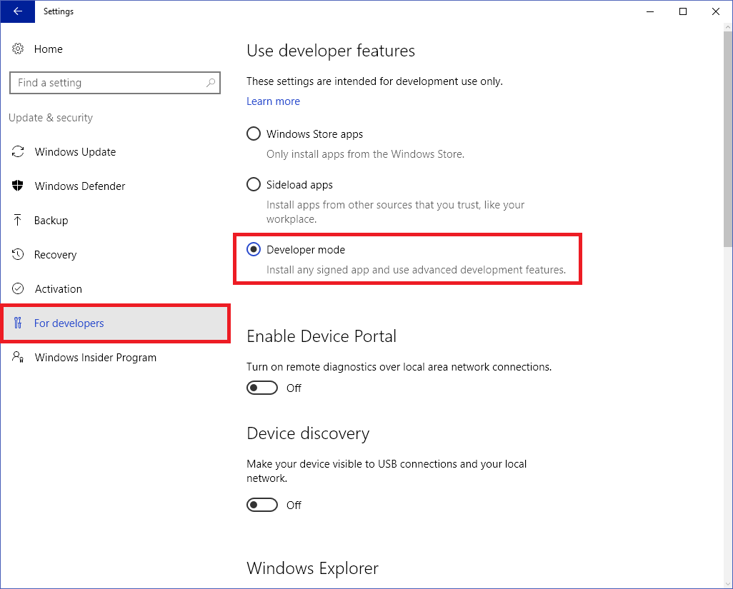 Enable developer mode in Windows 10
