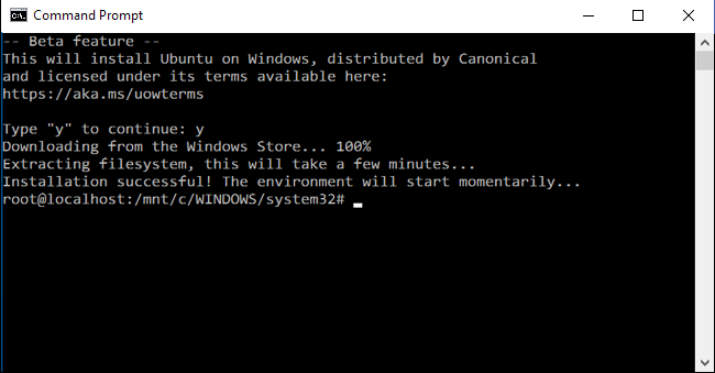 Installing bash via command prompt