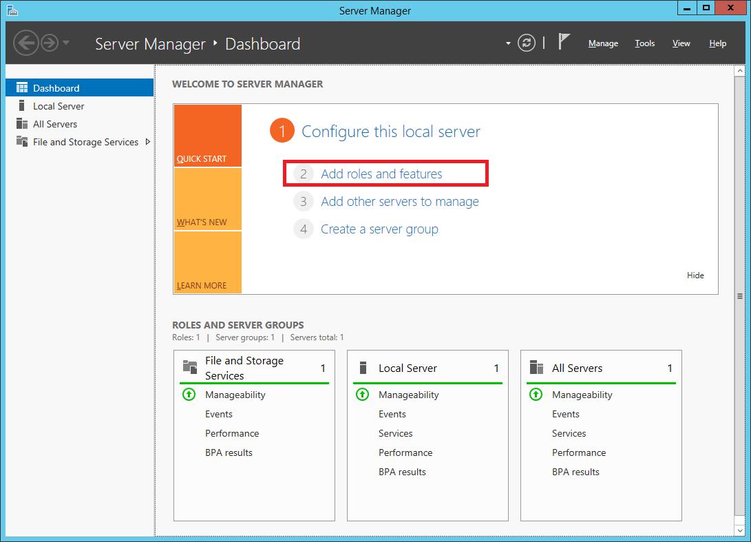 Server Manager window