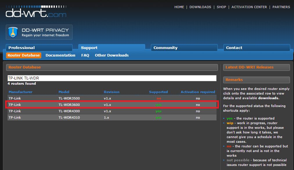 DD-WRT database search